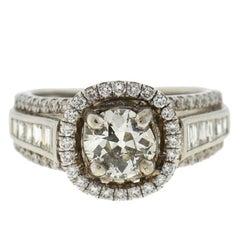 18 Karat White Gold Diamond Engagement Ring 1.55 Carat Tw