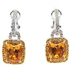 Yellow and Orange Citrine Diamond 18 Karat White Gold Dangling Earrings
