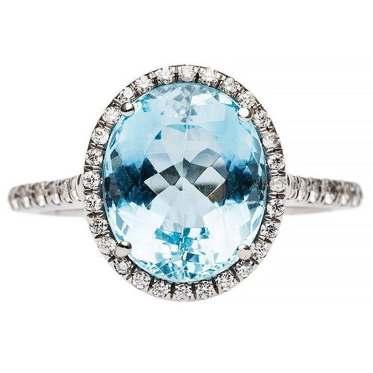 Modern Aquamarine Diamond White Gold Micro Pave Engagement Ring At