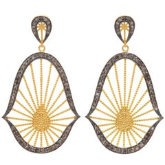 Gold Vermeil and Brown Diamonds Oriental Statement Earrings