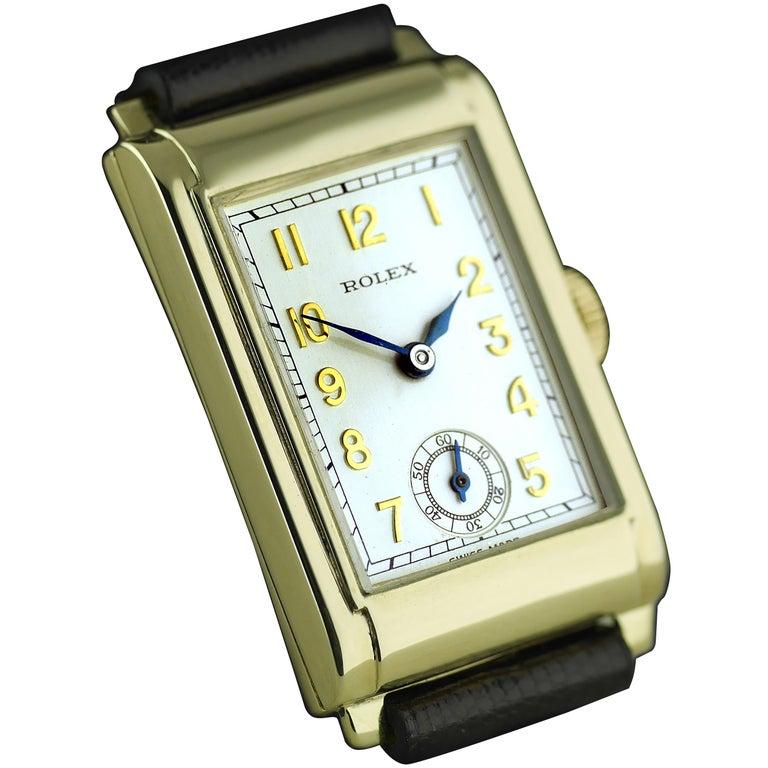 Rolex Yellow Gold Art Deco Railway Mechanical Wristwatch, 1934 For Sale