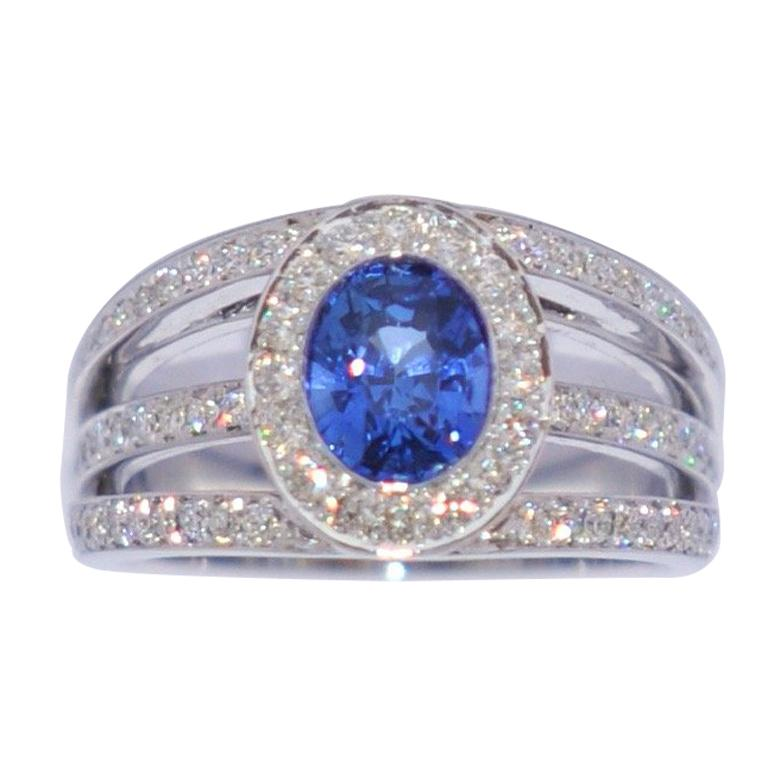 Sapphire and White Diamonds on White Gold 18 Karat Engagement Ring
