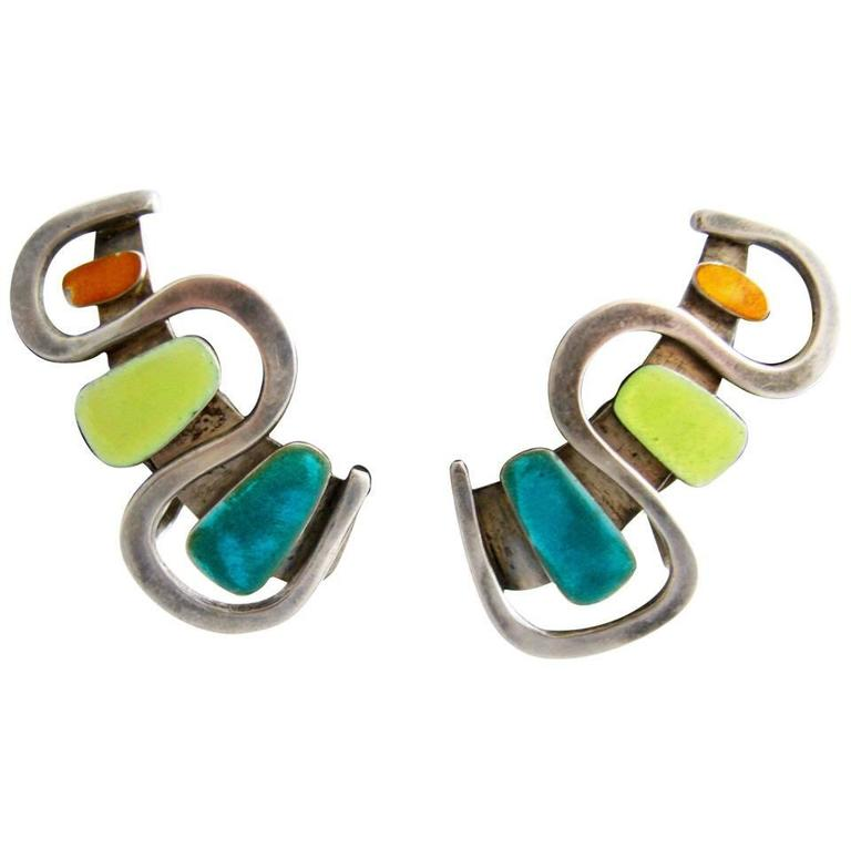 1950s Novitt Enamel Sterling Silver Earrings