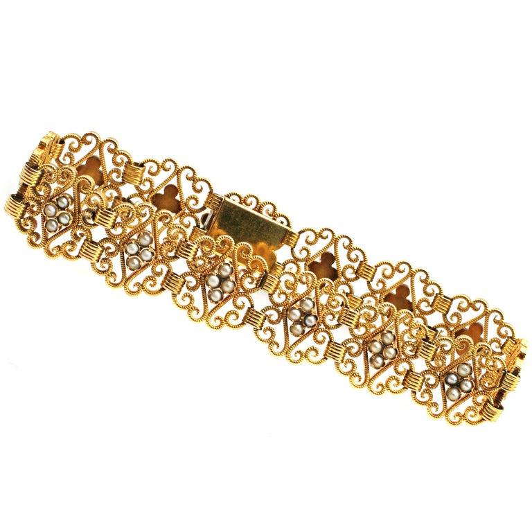 Antique Seed Pearl 18 Karat Yellow Gold Bracelet