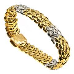 Diamond Platinum 18 Karat Yellow Gold 1980s Bracelet