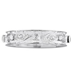 Georgios Collections 18 Karat White Gold Band Unisex Ring with Princess Diamonds