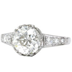 Edwardian 1.64 Carat Diamond Platinum Engagement Ring GIA