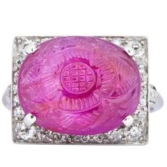 Art Deco 8.50 Carat Carved No Heat Burma Ruby Diamond Platinum Ring