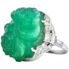 Art Deco 15.60 Carat Carved Colombian Emerald Diamond Platinum Ring