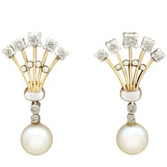 Vintage 1960s Diamond and Pearl Yellow Gold Drop Earrings