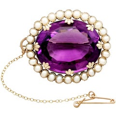 Victorian 39.69 Carat Amethyst and Seed Pearl Gold Brooch