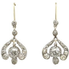 Antique Victorian Diamond and Yellow Gold Drop Earrings