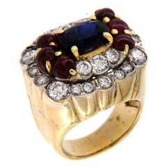 1980s Vintage Sapphire Ruby and Diamond Ring