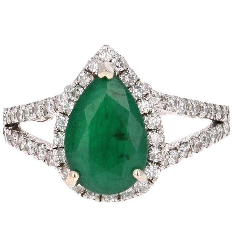 2.84 Carat Pear Cut Emerald Diamond Halo Engagement Ring