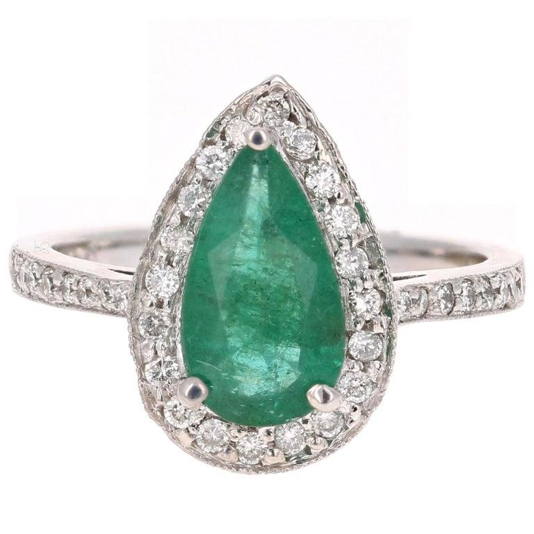 2.07 Carat Pear Cut Emerald Diamond Halo Engagement Ring