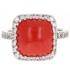 4.93 Carat Coral Diamond White Gold Cocktail Ring