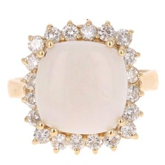 5.46 Carat Opal Diamond Yellow Gold Bridal Ring