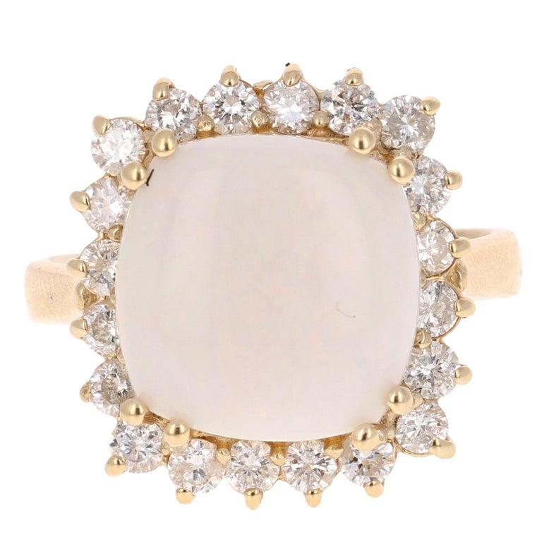 5.46 Carat Opal Diamond Yellow Gold Bridal Ring