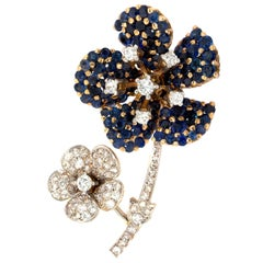 Sapphire and Diamond Floral 18 Karat  Gold Brooch