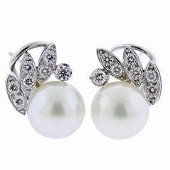 18 Karat Gold G VS Diamond South Sea Pearl Stud Drop Earrings