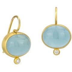 Stephanie Albertson 22K gold, 24.5 ct aquamarine cabochon & diamond drop earring