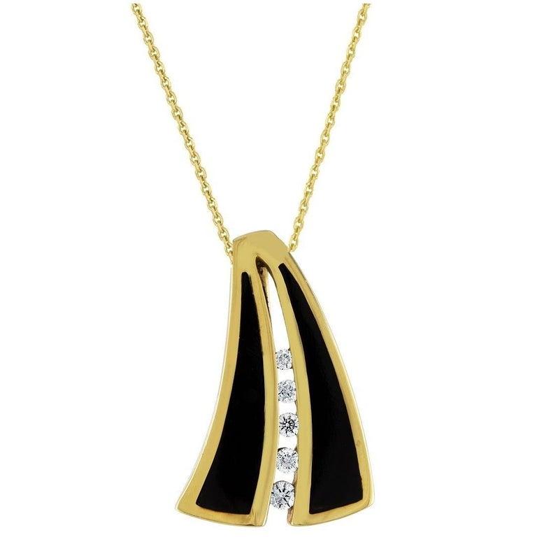 Bernard K. Passman Black Coral and Diamonds Gold Pendant Necklace