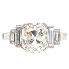 Vintage 2.67 Carat Old Mine Cut Diamond Platinum Engagement Ring