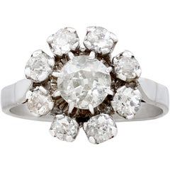 1930s French 1.41 Carat Diamond Gold Cluster Ring