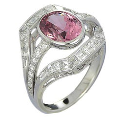 2.54 Carat Pink Spinel and Diamond Art Deco Style Cocktail Ring