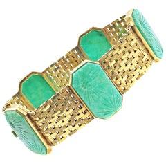 Austrian Art Deco Jade Gold Bracelet