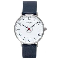 Adexe British Design Number Blue White Silver Stainless Quartz Wristwatch