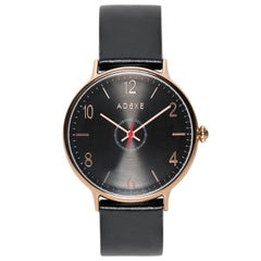 Adexe British Design Large Number Black Rose Gold Stainless Quartz Wristwatch