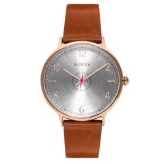 Adexe British Design Large Number Orange Rose Gold Stainless Quartz Wristwatch
