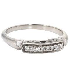 Diamond Wedding Band Ring Vintage 14 Karat White Gold Estate Fine Jewelry