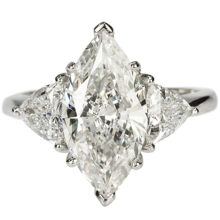 3.10 Carat Marquise Diamond Platinum Ring