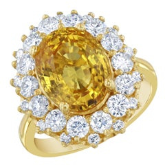 9.19 Carat Yellow Sapphire and Diamond 18 Karat Yellow Gold Ring