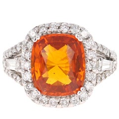 6.13 Carat GIA Certified Orange Sapphire Diamond 14 Karat White Gold Ring