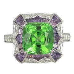 Platinum Tsavorite Violette Sapphire and Diamond Cocktail Ring