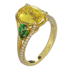 2.55 Carat GIA Certified Yellow Sapphire Tsavorite and Diamond Engagement Ring