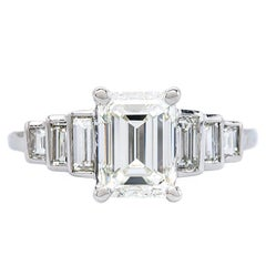 Art Deco Inspired 1.70 Carat Emerald Cut Diamond Platinum Engagement Ring