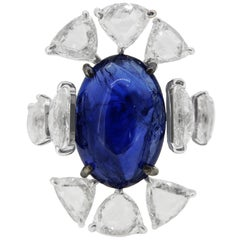 GII Certified 18 Karat Natural Blue Sapphire Taveez Cut Diamond Cocktail Ring