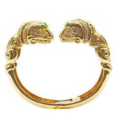 Diamond Tourmaline 18 Karat Gold Snake Head Bangle Bracelet