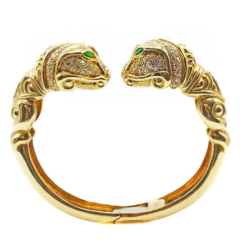 Diamond Tourmaline 18 Karat Gold Snake Head Bangle Bracelet For Sale