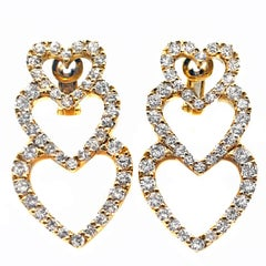 Diamond 18 Karat Yellow Gold Dangling Hearts Ear Pendants