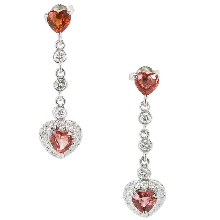 Orange Heart Sapphire Diamond Gold Drop Dangle Earrings