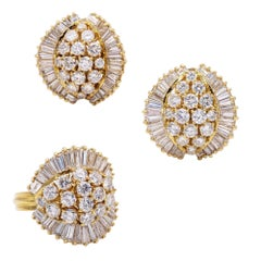 Baguette And Round Diamond Earring Ring Set