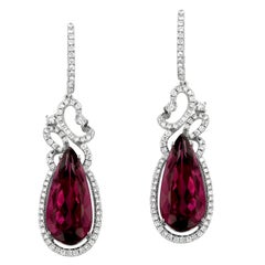 Yael Designs Rubellite Tourmaline Diamond and White Gold Drop Earrings