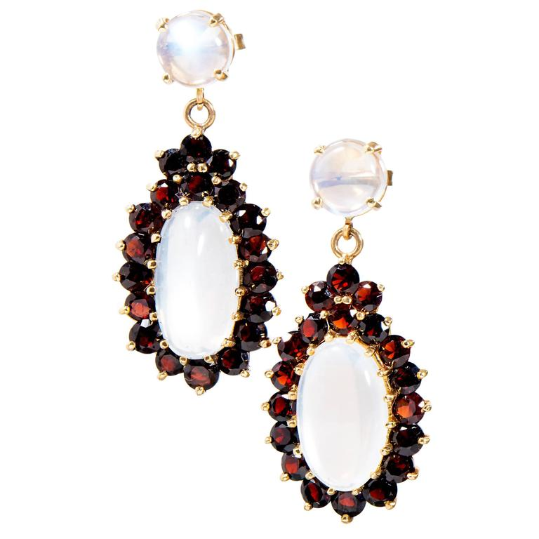 Garnet Blue Oval Moonstone Gold Dangle Earrings