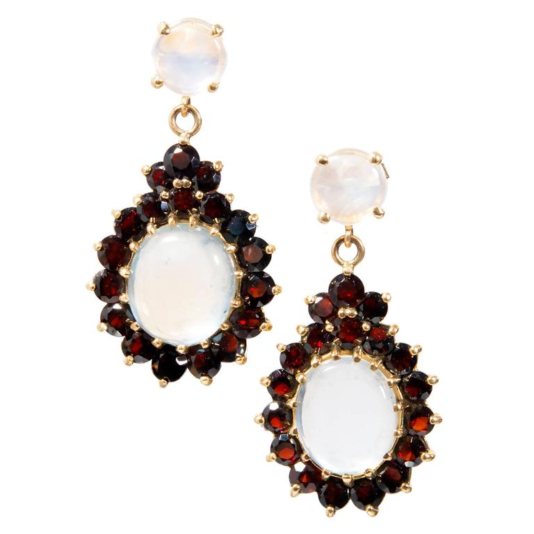 Moonstone Garnet Gold Dangle Earrings