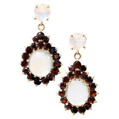 Moonstone Garnet Gold Dangle Earrings